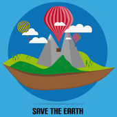 Flat Nature With Clouds And Air Balloon With Save The Earth With Circle — Stock Vector