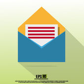 Blue Flat Mail Icon With Letter And Green Background With Shadow — Vector de stock