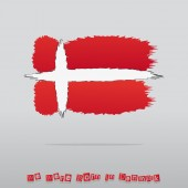 Abstract Brush Denmark Flag With Text — Stock Vector