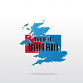 Made In Britain With Map And Color — Stock Vector