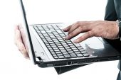 Close up of hands typing on a laptop — Stock Photo