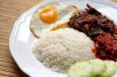 Nasi lemak (coconut rice) — Stock Photo