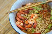 Spicy Thai tom yum soup noodle — Stock Photo