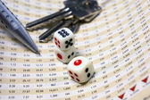 Dices on financial report — Stock Photo