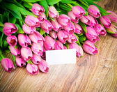 Tulips flowers with card — ストック写真