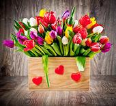 Tulips in box — Stock Photo