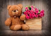Roses and teddy bear — Foto Stock