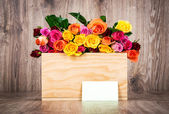 Roses and greeting card — Stock Photo