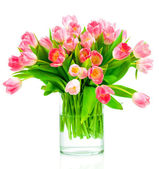 Tulips in vase on white — Stock Photo