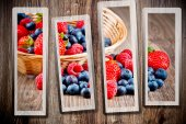 Berries on wooden background — Stock Photo