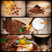 Appetizing collage with coffee — Stock Photo