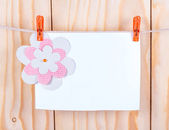 Paper sheet hanging on wooden background — Stock Photo