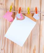 White page and paper hearts — Stock Photo