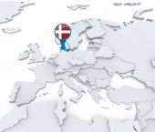 Denmark on a map of Europe — Stock Photo