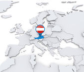 Austria on a map of Europe — Stock Photo