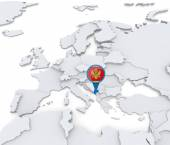 Monte negro on a map of Europe — Stock Photo