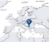 Kosovo on a map of Europe — Stock Photo