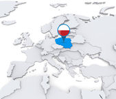 Poland on a map of Europe — Stock Photo