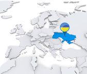 Ukraine on a map of Europe — Stock Photo