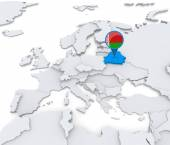 Belarus on a map of Europe — Stock Photo
