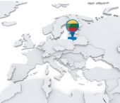 Lithuania on a map of Europe — Stock Photo