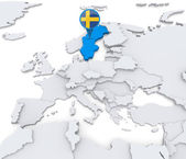 Sweden on a map of Europe — Stock Photo