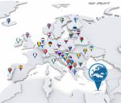 Map of Europe with national flags — Stock Photo