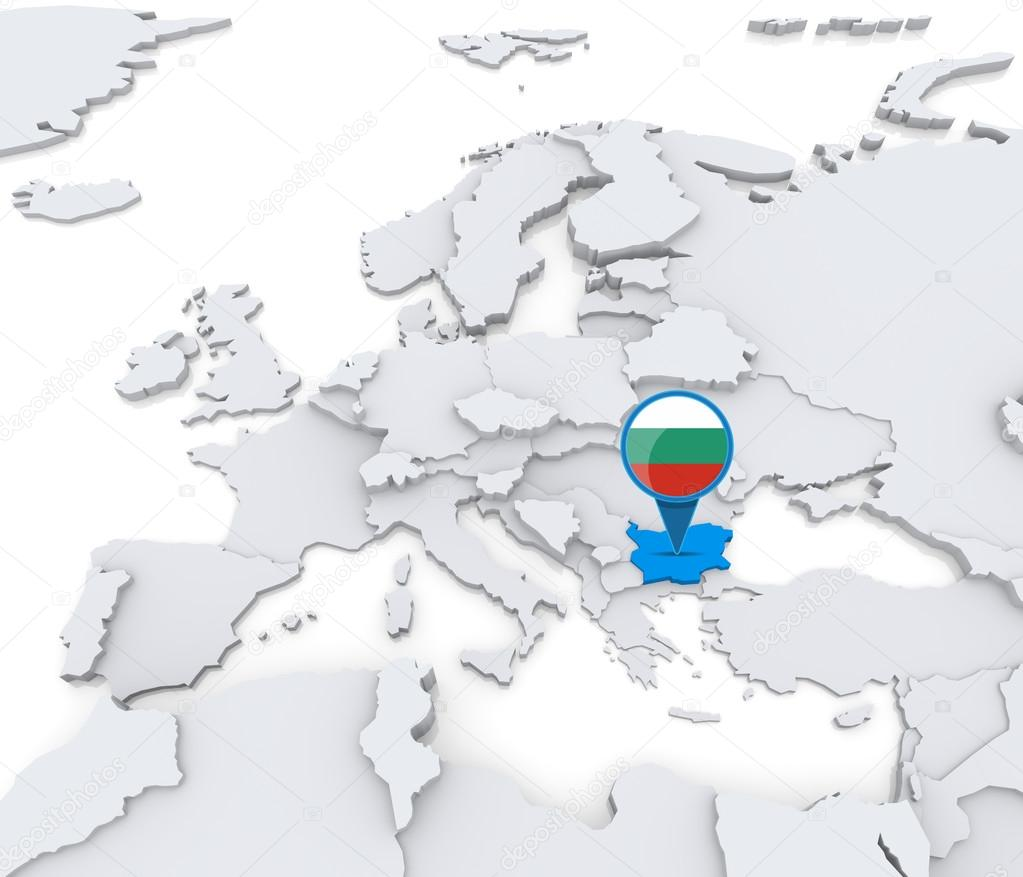 在欧洲与国旗地图上突出显示的保加利亚— photo by kerdazz7