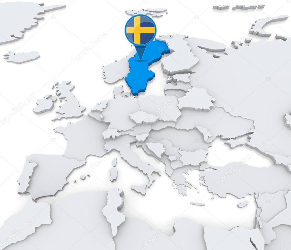 在欧洲与国旗地图上突出显示的瑞典– 图库图片
