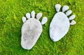 Footprint on seaweed — Stock Photo