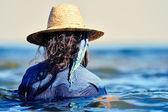 Woman in wet dress — Stock Photo