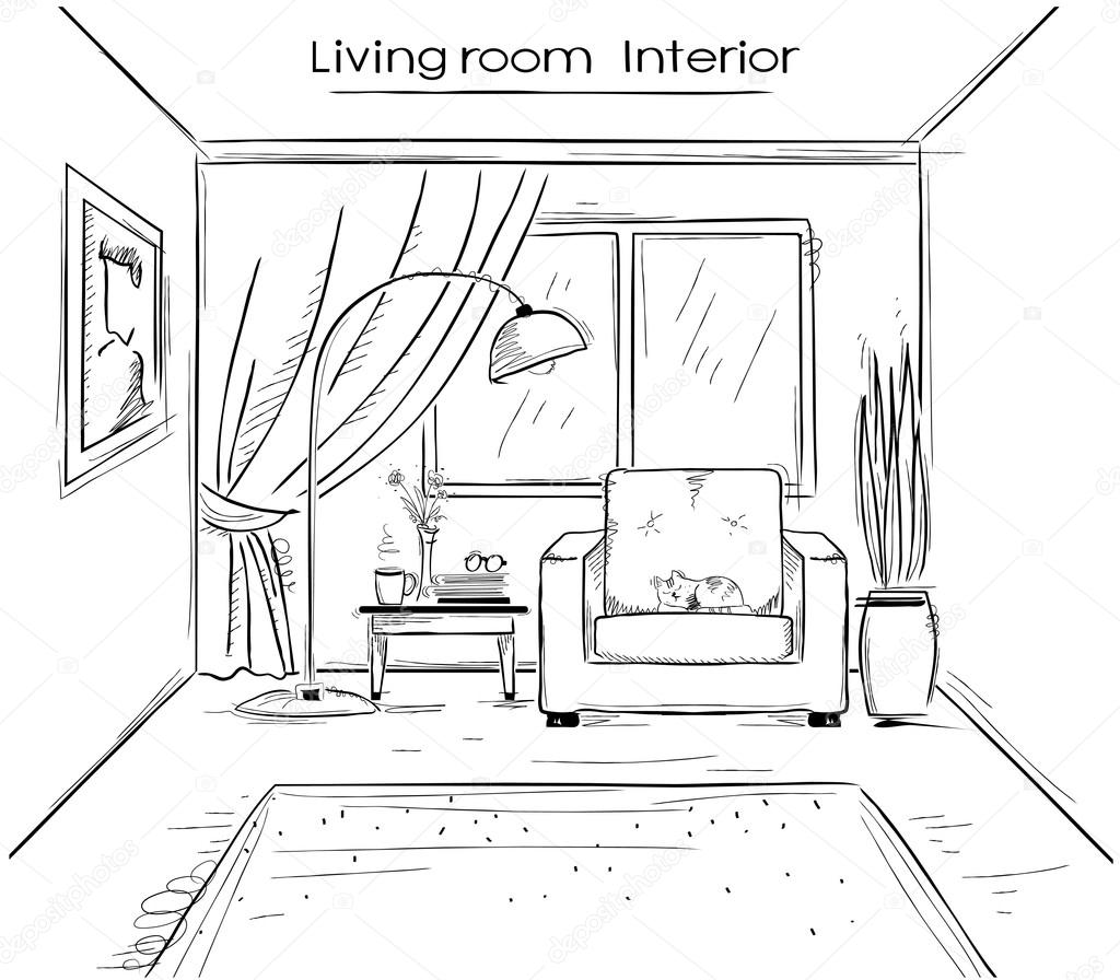Illustrazione imprecisa del salotto interno vector nero for Disegno casa interno