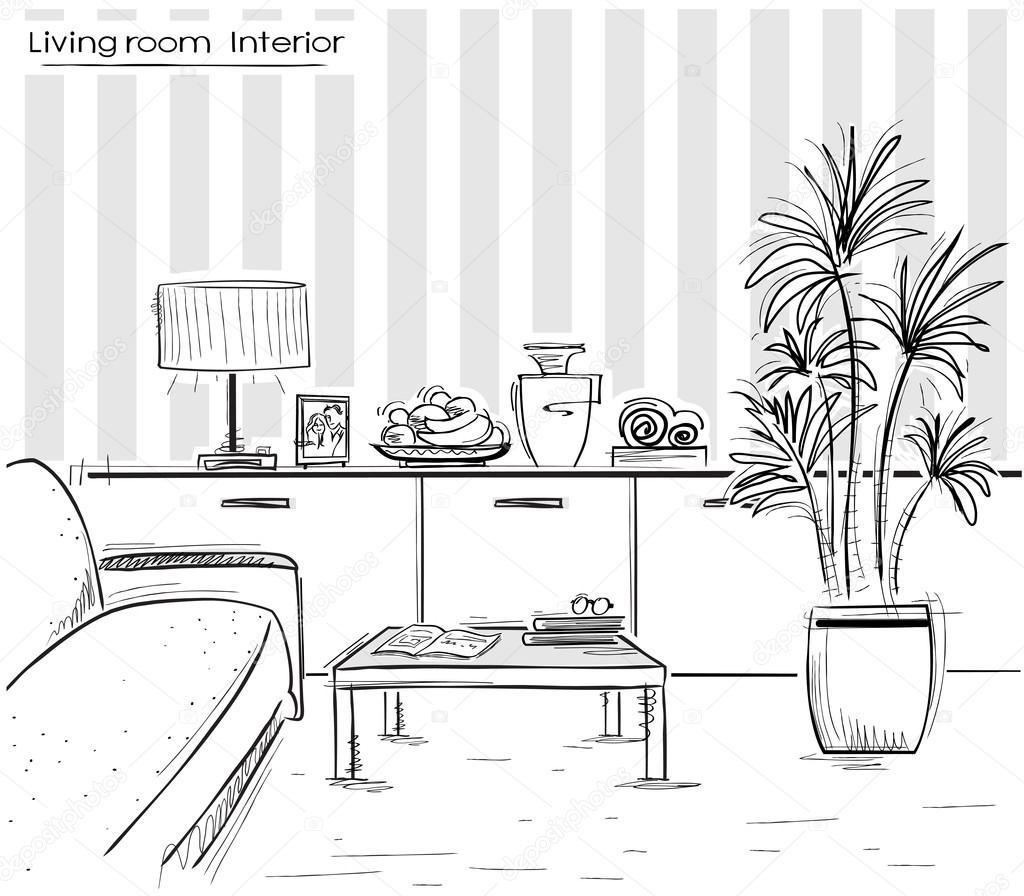 Int rieur de salon design vector main noire dessin illust for Interieur tekenen