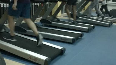 Treadmill at gym — Stock Video