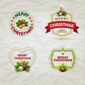 Christmas Badge Set — Stock Vector