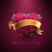 Valentine's Day Card with roses — Stock Vector