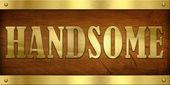 Vintage Door Plate, Handsome — Stock Photo