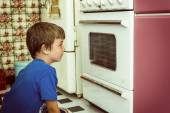 Looking at oven — Stock Photo