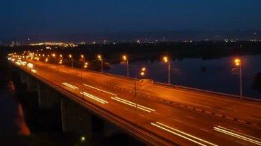 Krasnoyarsk night bridge, time lapse — Stock Video