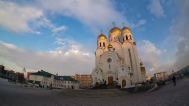 Church of the nativity, krasnoyarsk, hyperlapse — Stock Video