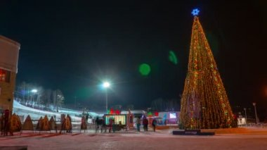 New year in ski resort — Stock Video