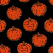 Halloween seamless pattern with pumpkins — Stock Vector