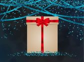 Blue confetti with wrapped gift — Vetor de Stock