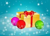 Christmas balls and present — Stock Vector