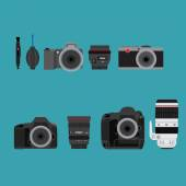 Camera and accessories — Stock Vector