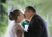 First Kiss of Married Couple — Stock Photo