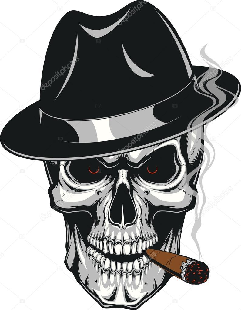 Тату череп с сигаретой фото