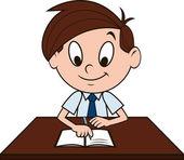 Boy at the desk — Stock Vector