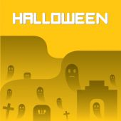 Ghosts and Graveyard Halloween Background — Stock Vector