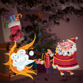 Santa Claus cartoon scene trying to control fire in fireplace — Stock Photo